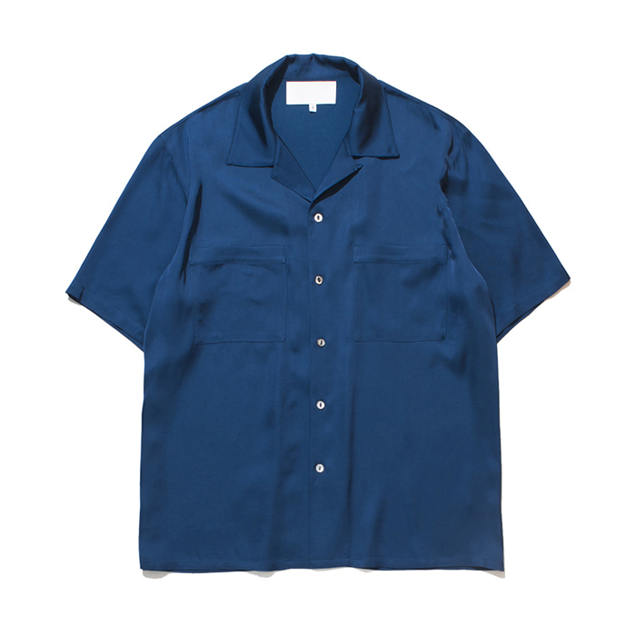 가쿠로 OPEN COLLAR SHIRT VISCOSE_OCEAN