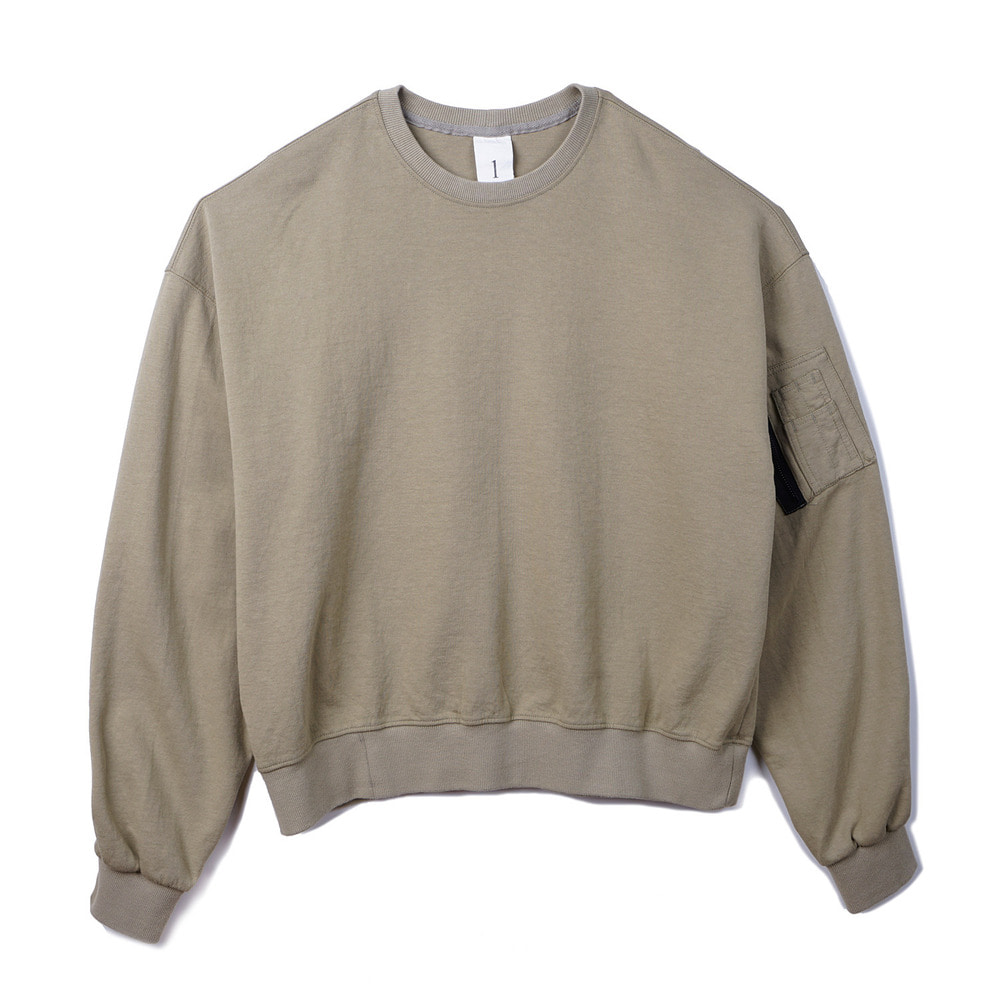 오파츠 MA-1 cotton jersey sweatshirt_Beige