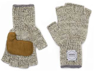 업스테이트스탁 Fingerless Wool Glove (Palm Leather)_Oatmeal