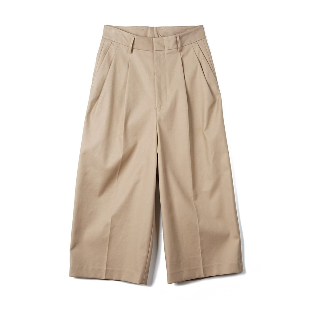 오파츠 Two Pleat Wide-leg Pants_Beige