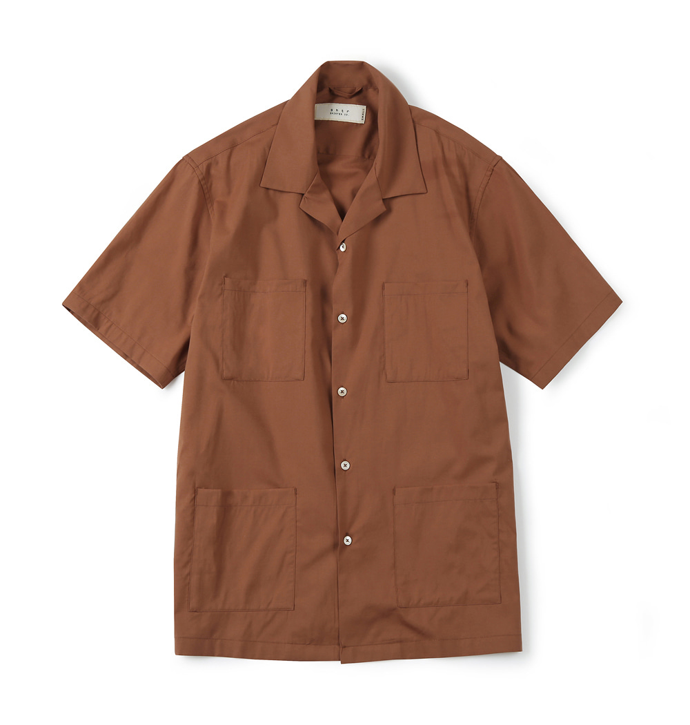 셔터 4P OPEN COLLAR SHIRT_Brown