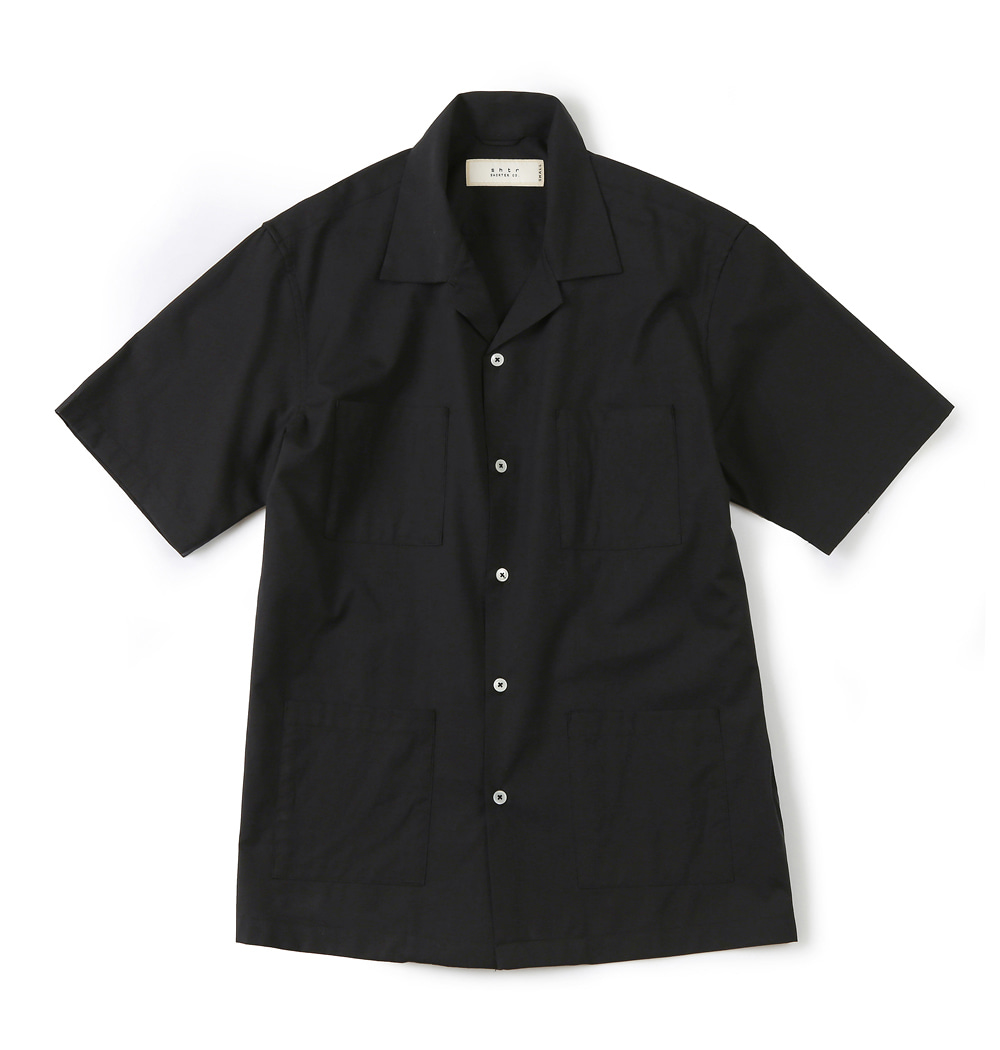 셔터 4P OPEN COLLAR SHIRT_Black