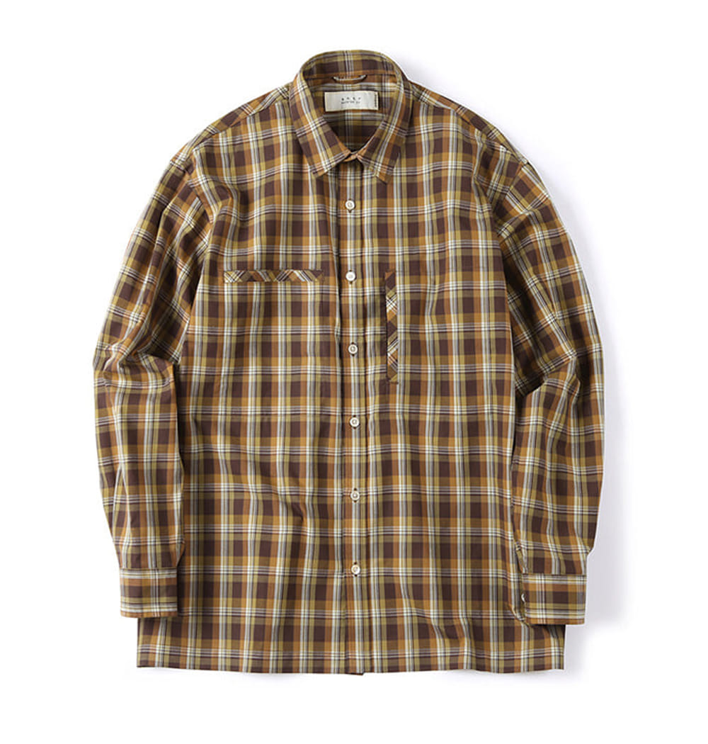 셔터 OVER BOX SHIRT_Check Brown