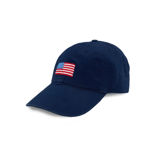 SMATHERS&BRANSON American Flag Needlepoint Hat (Navy)