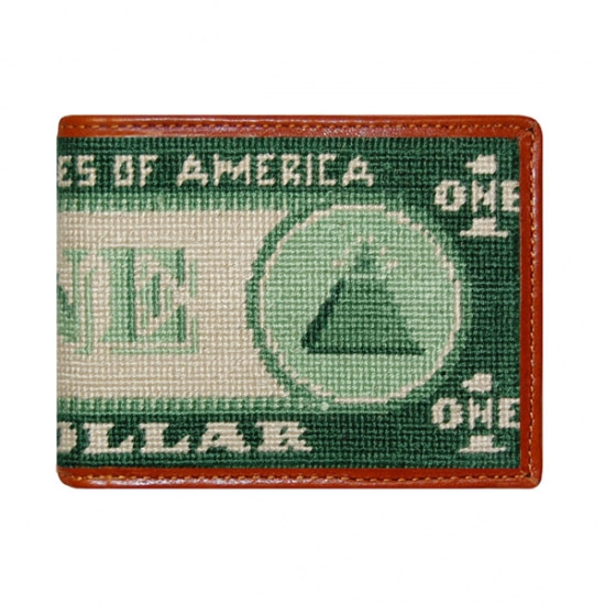 SMATHERS&BRANSON Dollar Bill Needlepoint Bi-Fold Wallet