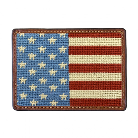 SMATHERS&BRANSON Stars and Stripes Needlepoint Card Wallet