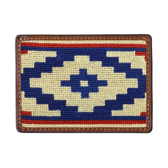 SMATHERS&BRANSON Gaucho Rojo Needlepoint Card Wallet