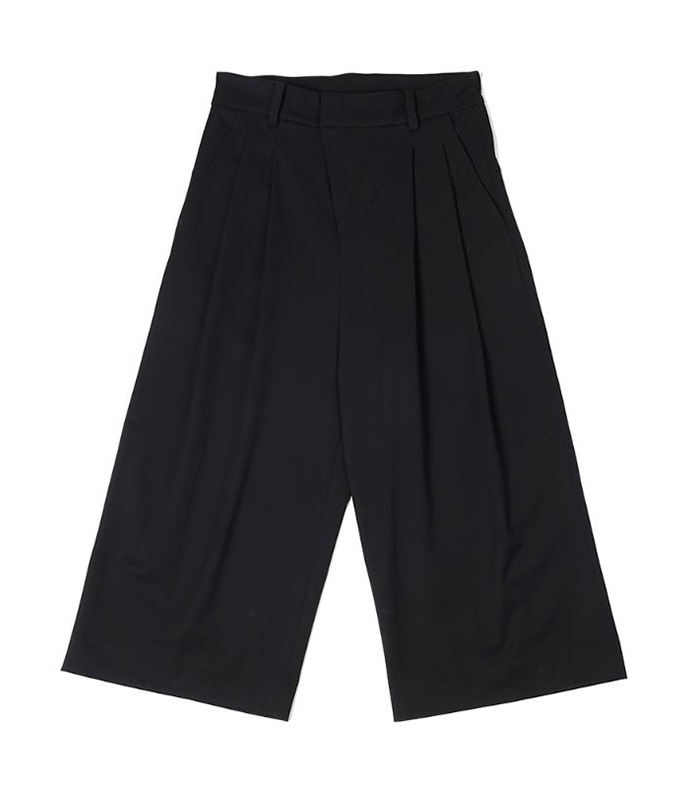 오파츠 Two pleats wide-leg pants (Black)