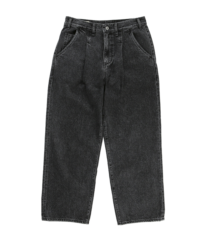 공백 Wide One Tuck black Washed Denim