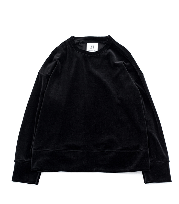 브라운야드 Wide Velour Pullover (Black)