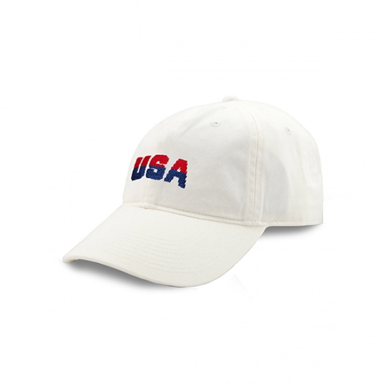 SMATHERS&BRANSON USA Needlepoint Hat (White)