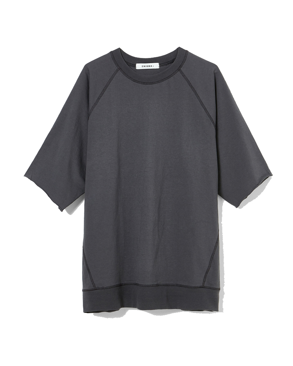 이니그마 Raglan Cut-off T-Shirt (Charcoal)