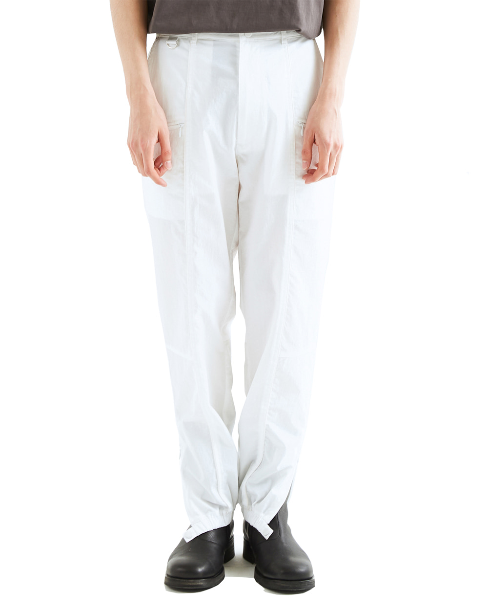 ATESTUDIOS SLIT ZIP TRACK PANTS (White)