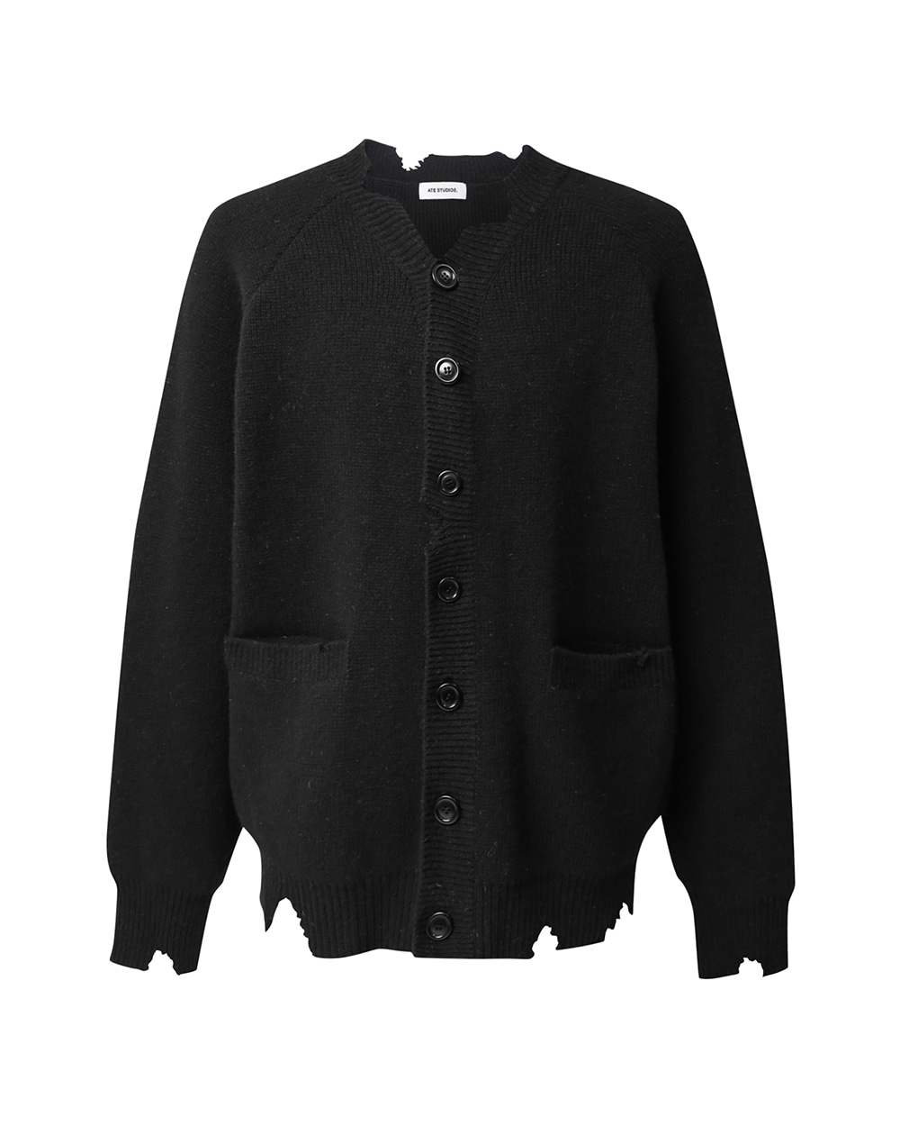 ATE STUDIOS PULLED OUT LAMBSWOOL CARDIGAN (Black)