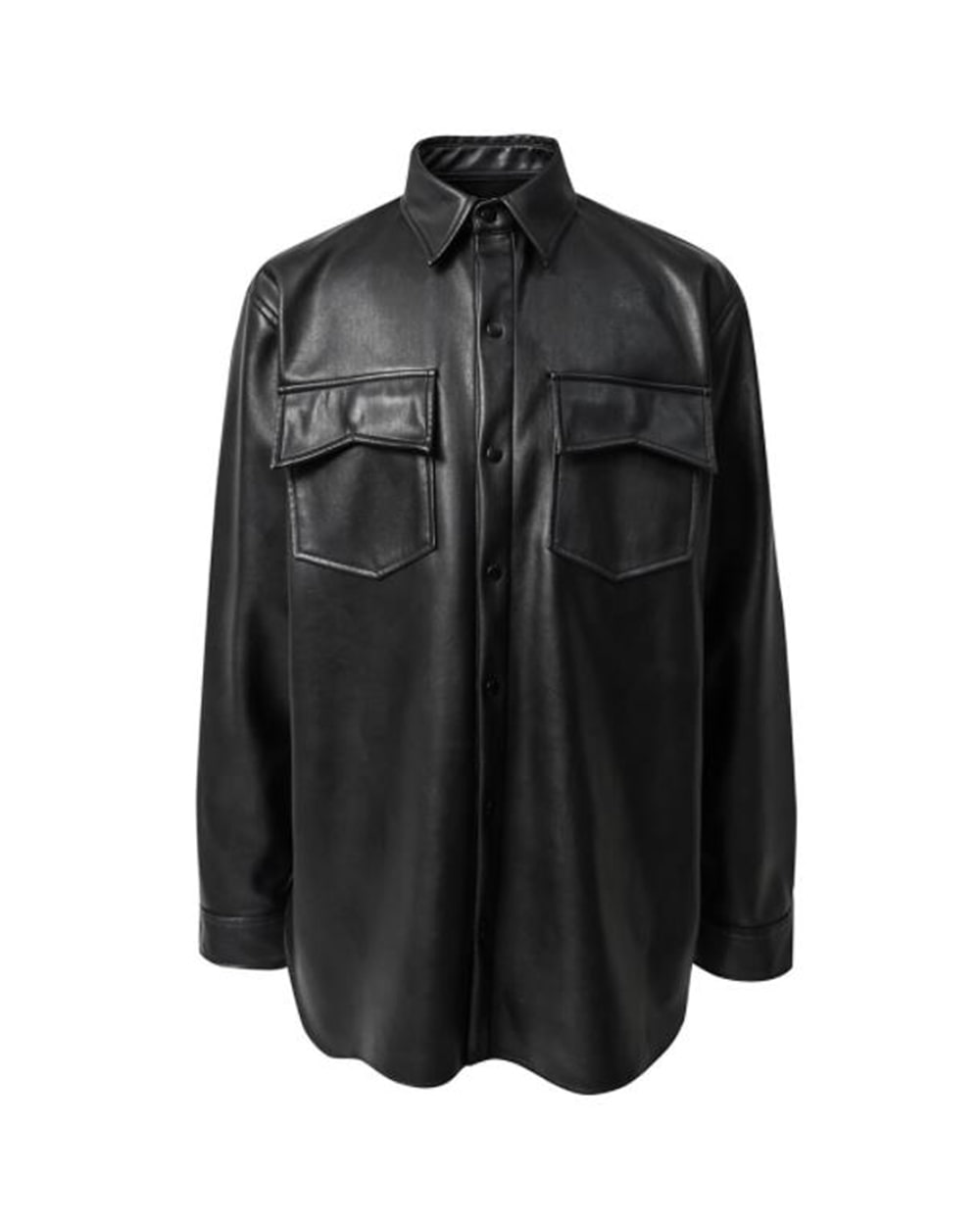 ATE STUDIOS ARTIFICIAL LEATHER POCKET SHIRTS JACKET (Black)