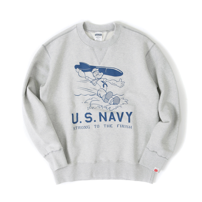 [아웃스탠딩] US NAVY MISSILE SWEAT SHIRT [MELANGE GRAY]