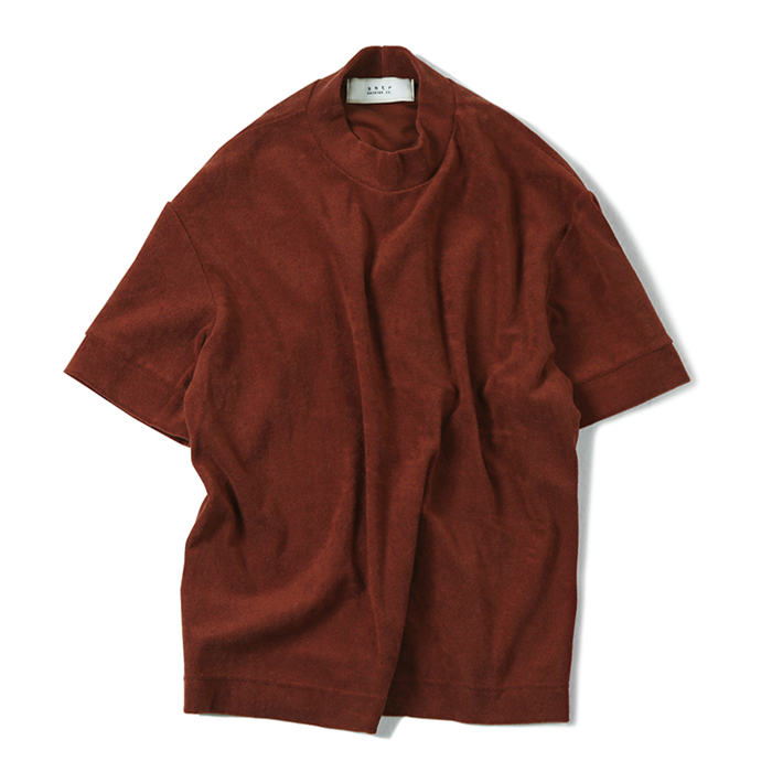셔터 MOCK-NECK TOWEL T-SHIRT_RED ORANGE