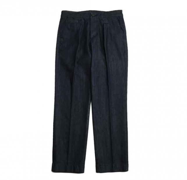 홀리선 데님 SONORA ONE TUCK DENIM TROUSERS [Dark navy]