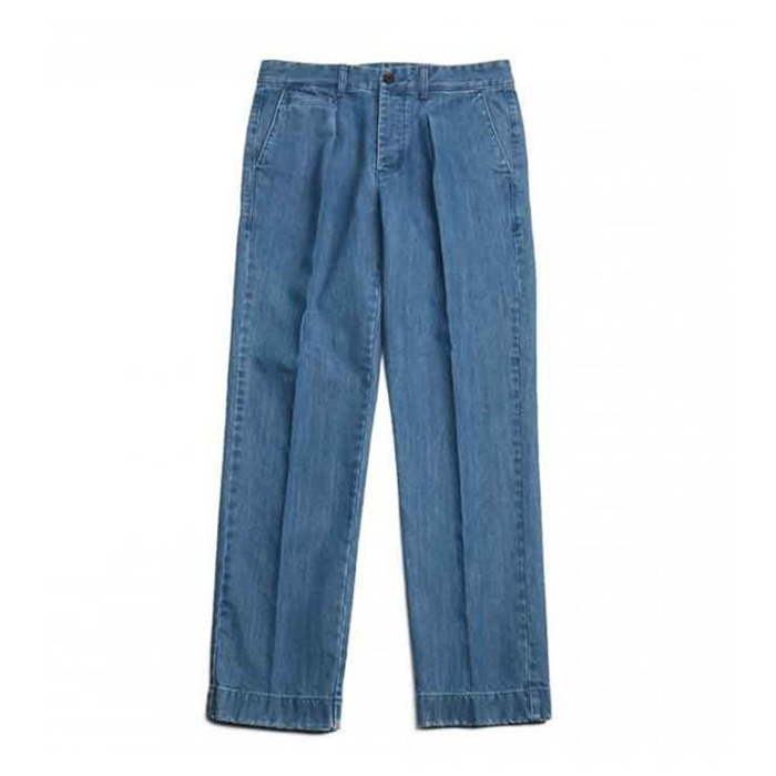 홀리선 데님 SONORA ONE TUCK DENIM TROUSERS [Light navy]