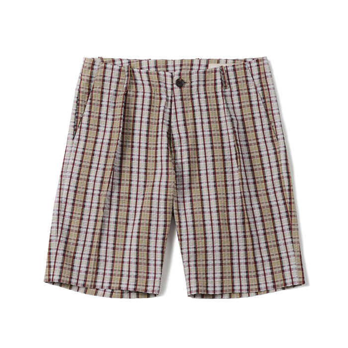 셔터 SEERSUCKER ONE PLEATED HALF PANTS_CHECK BEIGE