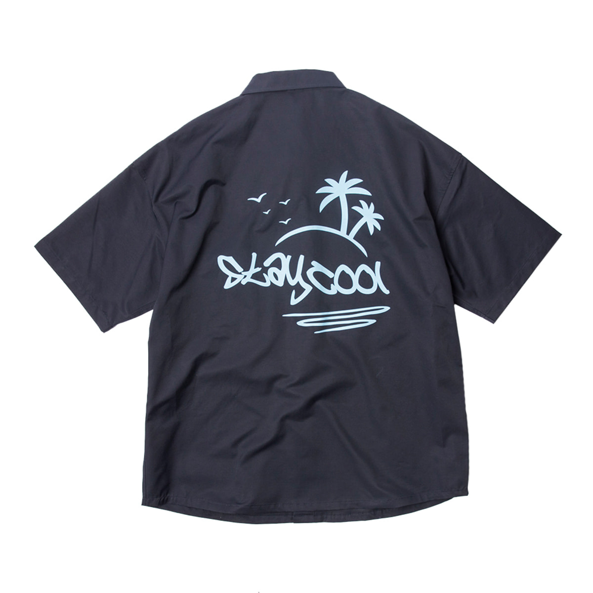 샌드파이퍼 BASIC OVERSIZED SHIRTS_NAVY PRINTED