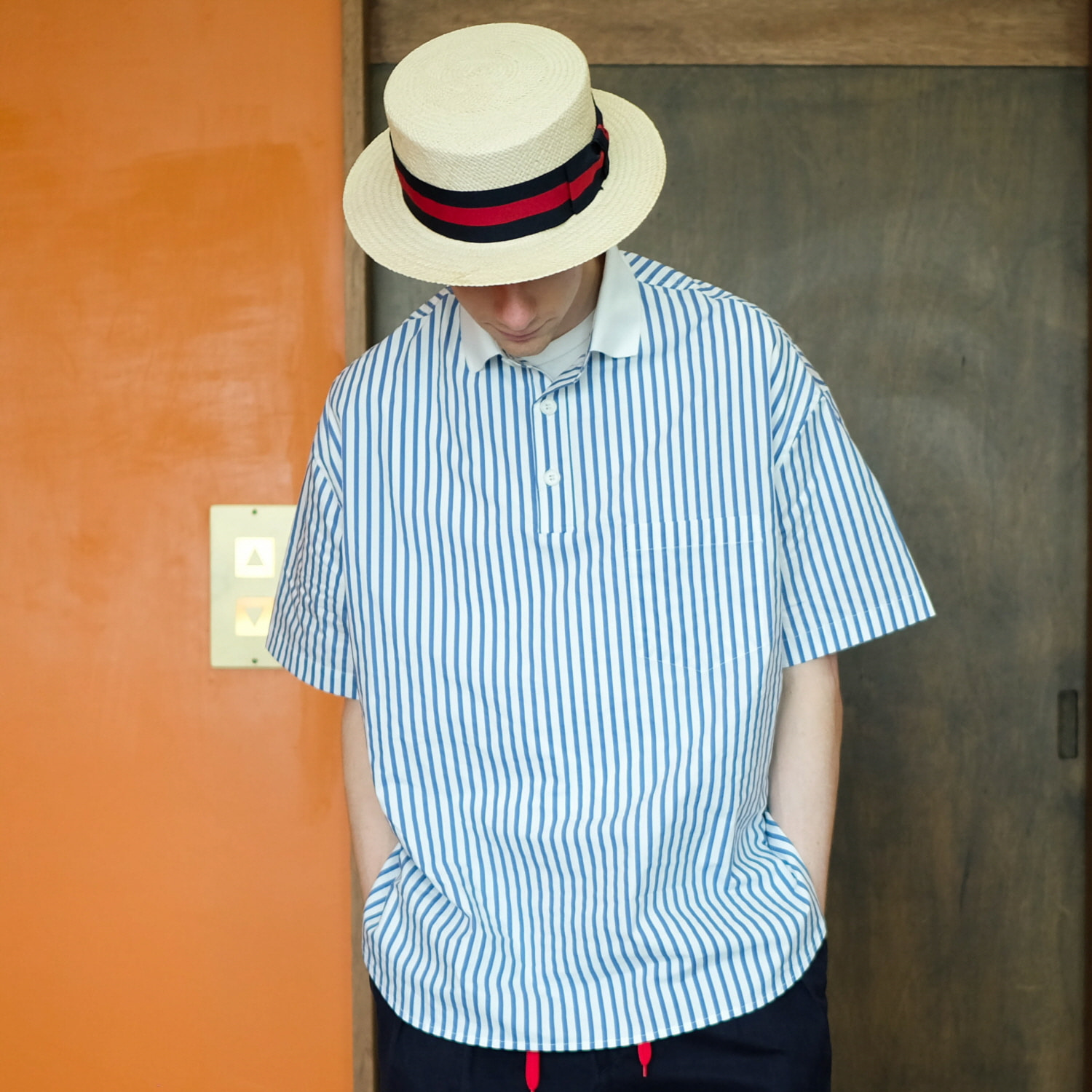 데일리인 Daily inn LOBBY BOY PIQUE SHIRTS (OVERSIZED)_BLUE STRIPE WITH WHITE
