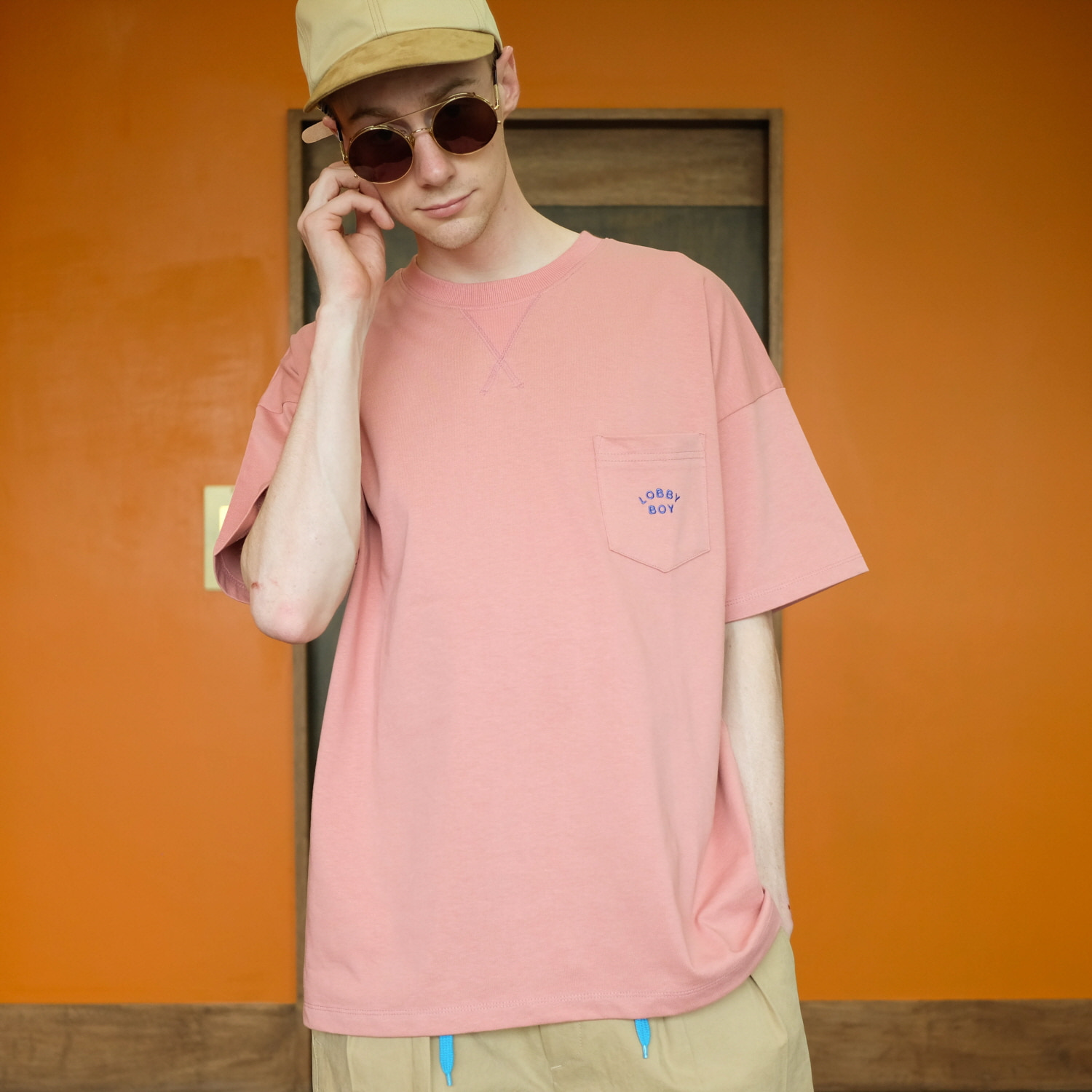 데일리인 Daily inn LOBBY BOY WIDE TEE WITH POCKET (Double Weight)_ROSE (HEAVY WEIGHT DOUBLE COTTON)