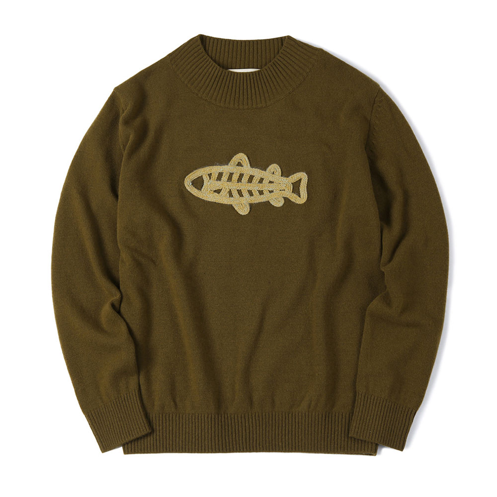 셔터 FISH EMBROIDERED MOCK-NECK KNIT_Khaki