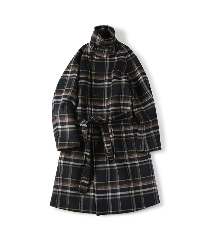 셔터 BELTED WOOL CHECK COAT_Navy
