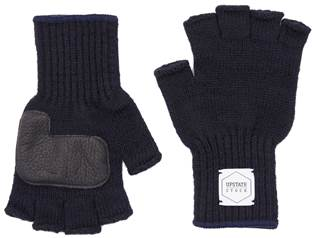 업스테이트스탁 Fingerless Wool Glove (Palm Leather)_Navy