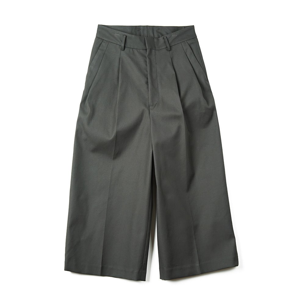 오파츠 Two Pleat Wide-leg Pants_Olive