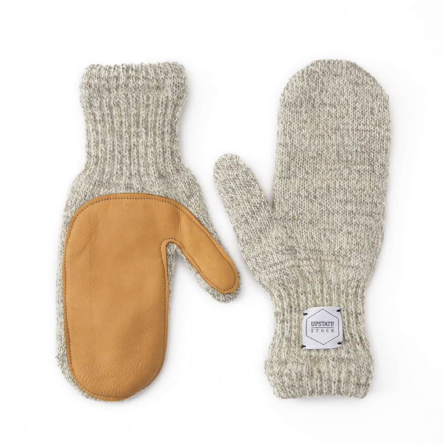 업스테이트스탁 Mitten Wool Glove (Palm Leather)_Oatmeal
