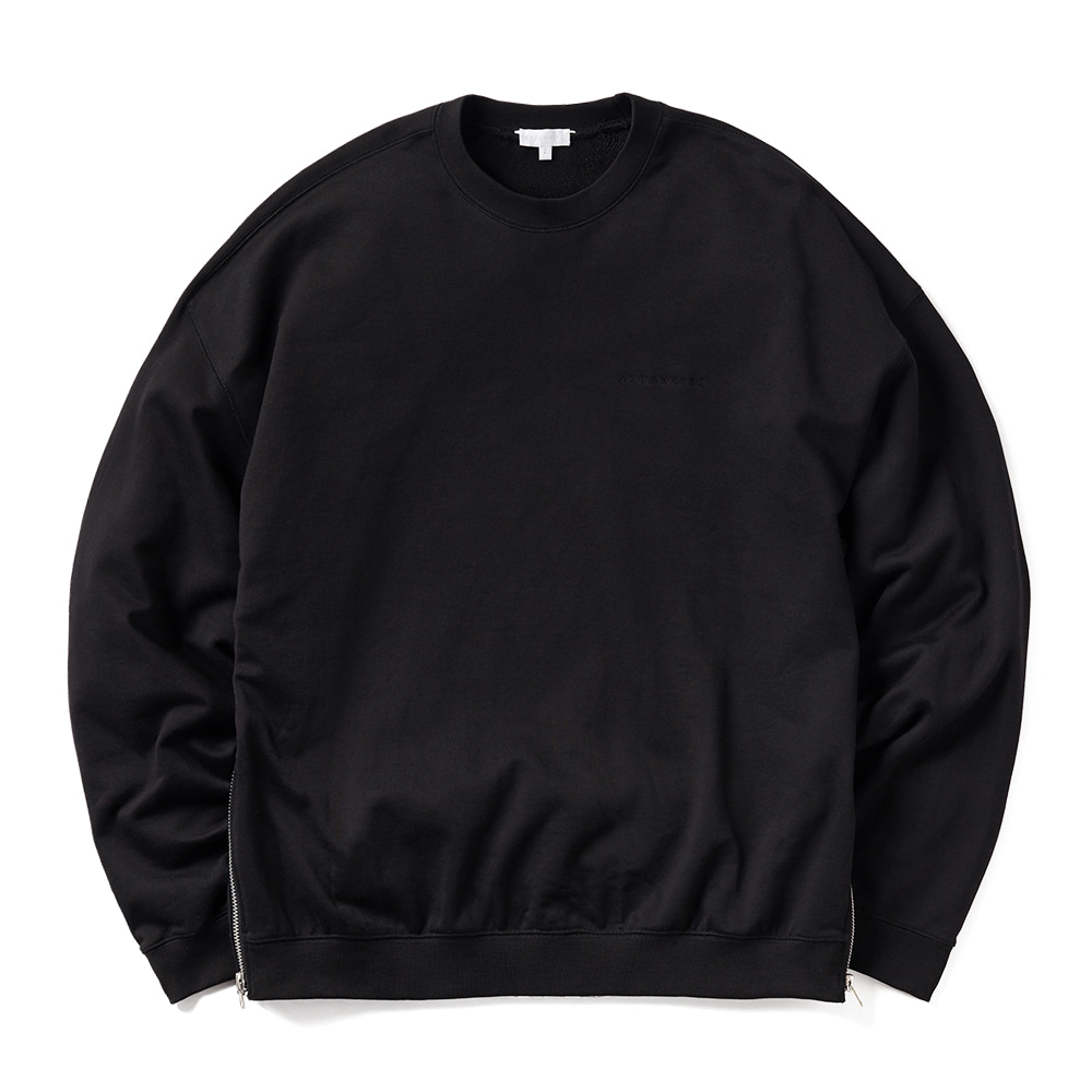 에이카화이트 WIDE DOUBLE ZIP SWEAT_Black