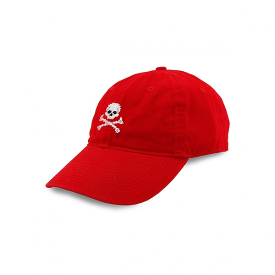SMATHERS&BRANSON_Jolly Roger Needlepoint Hat (Red)