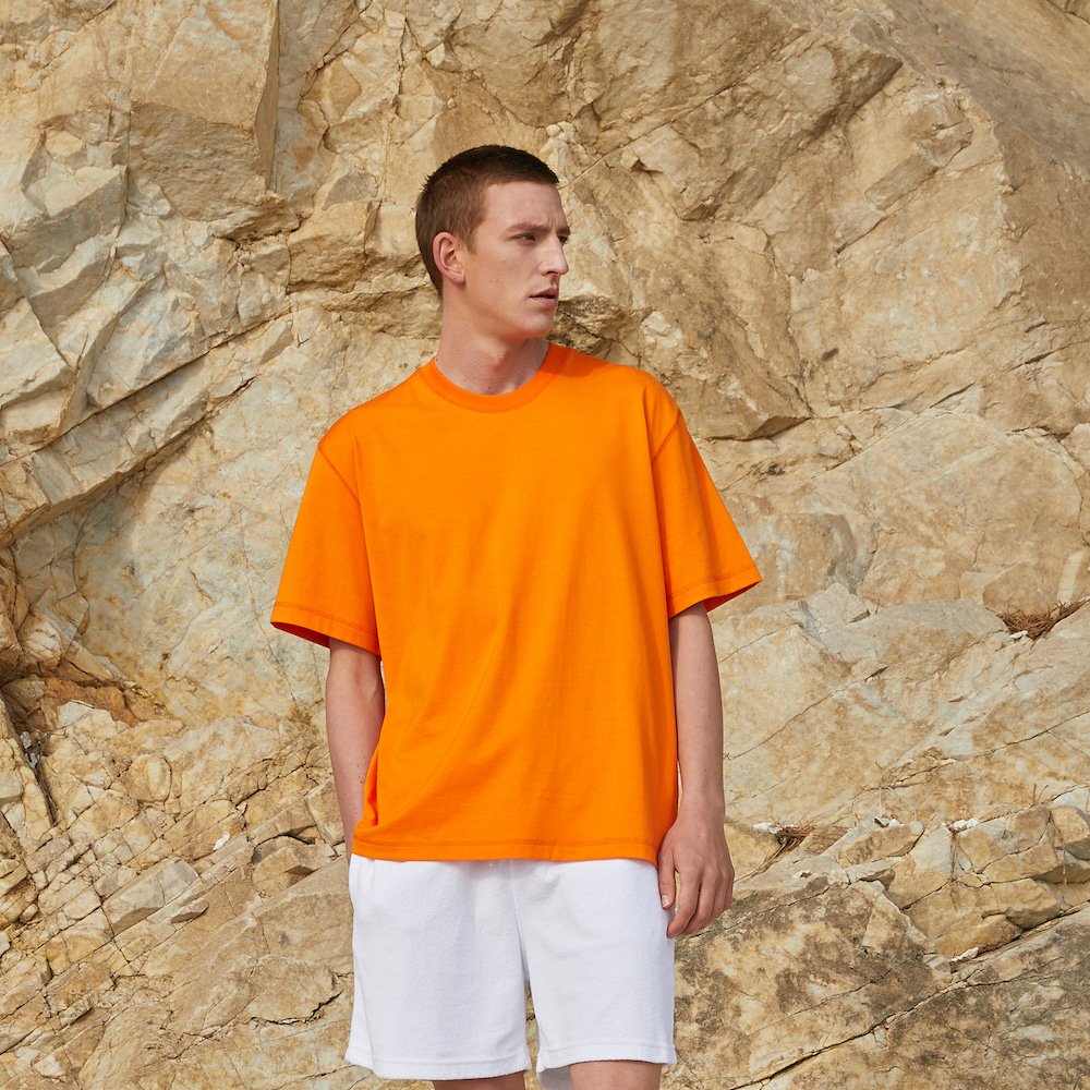 에이카화이트 LOUISE HALF SLEEVE TEE_Acid Orange