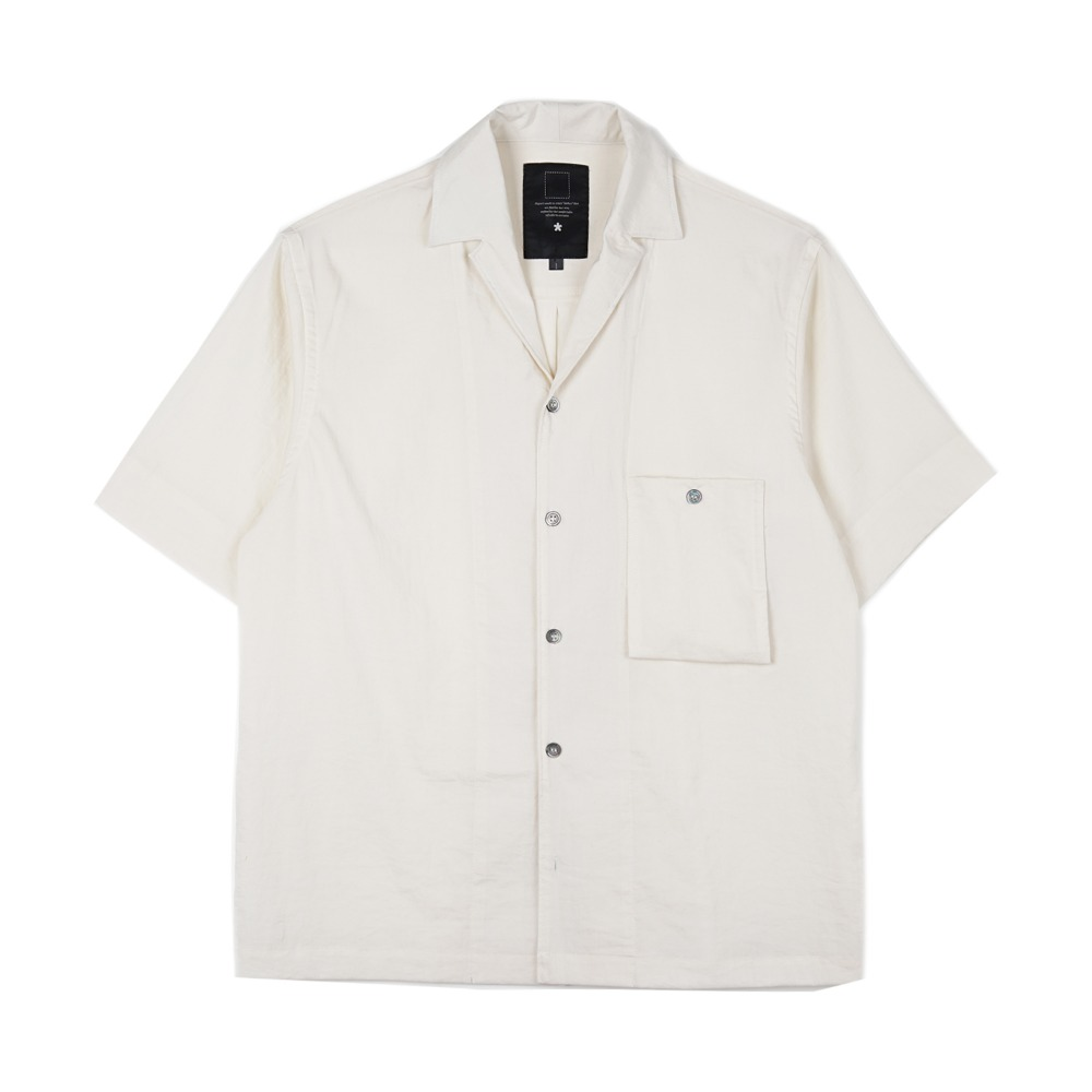 오파츠 Simple open-collar Pocket shirts_White