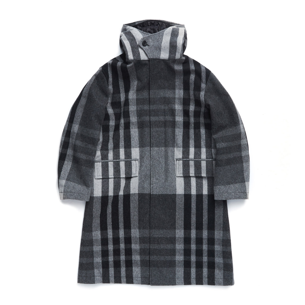 언어펙티드 HOODED COAT_Grey check