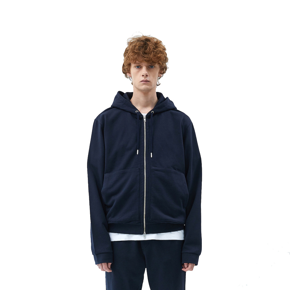 에이카화이트 FINEST COTTON ZIP UP HOODIE (Deep navy)