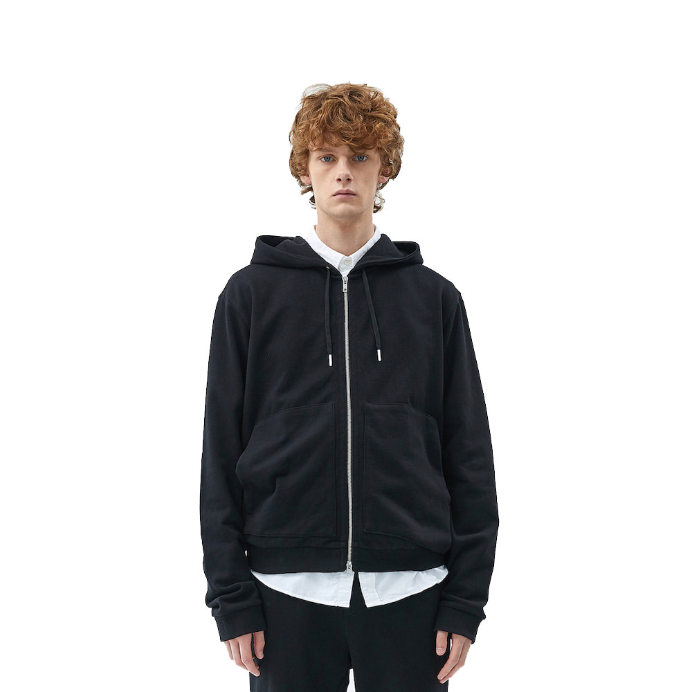에이카화이트 FINEST COTTON ZIP UP HOODIE (Black)