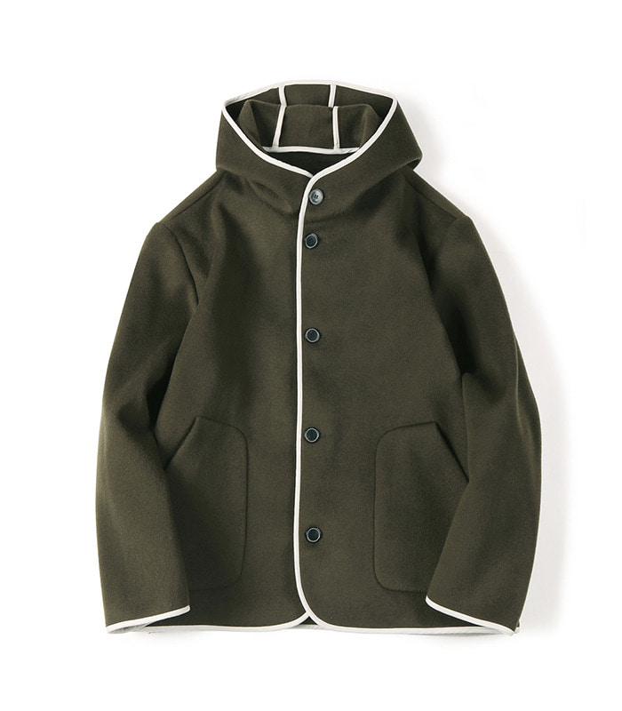셔터 REVERSIBLE HOODED WOOL JACKET (Olive)