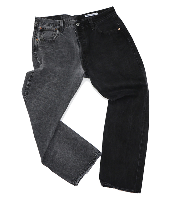 써니사이드업 REMAKE 2FOR1 BLACK DENIM (SIZE4 TYPED)