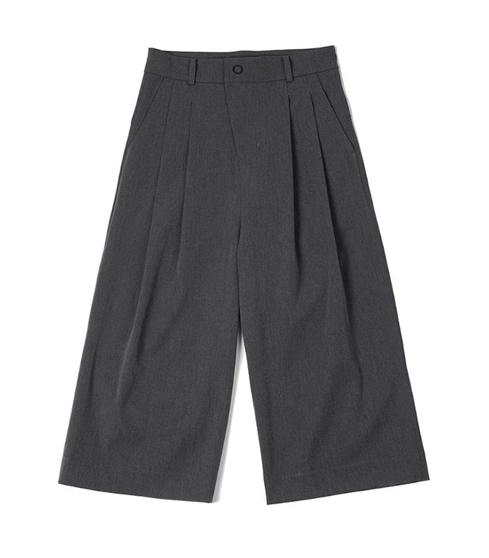 오파츠 Two pleats wide-leg pants (Gray)