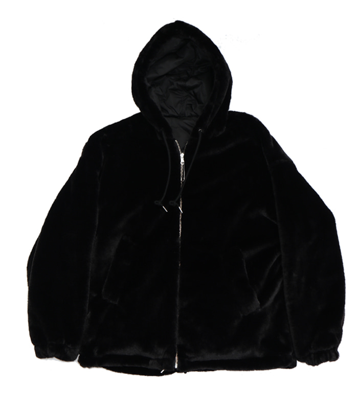가쿠로 Reversible fake fur parka_Black/Black