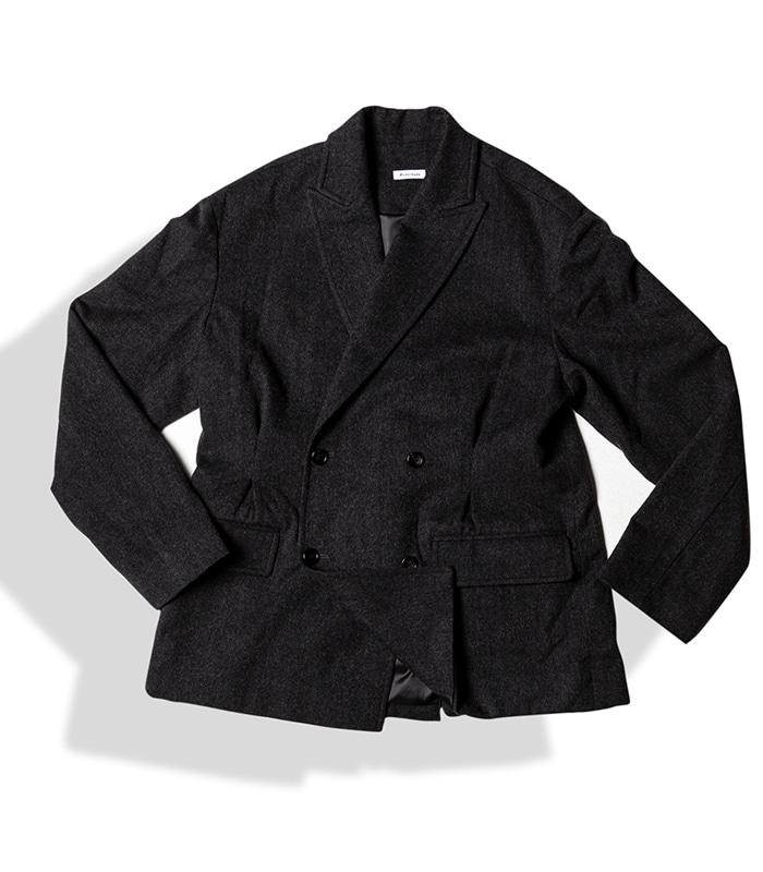 아티튜드 DOUBLE BREASTED TUX WOOL JACKET (F.Charcoal)