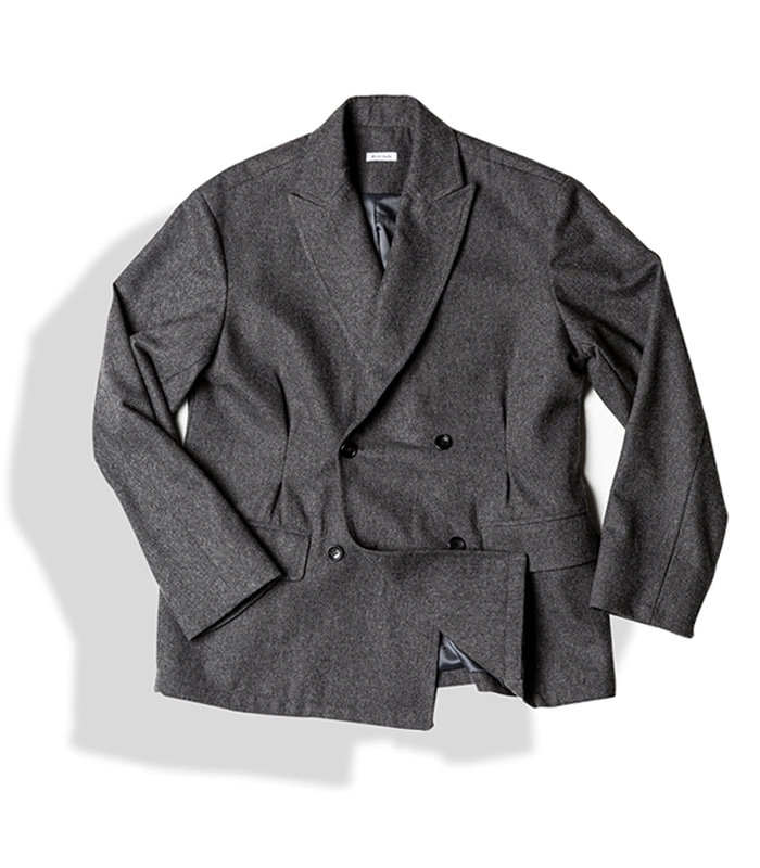 아티튜드 DOUBLE BREASTED TUX WOOL JACKET (W.Grey)