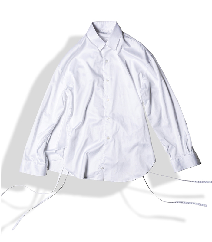 아티튜드 STRING GLOSSY COTTON SHIRTS (White)
