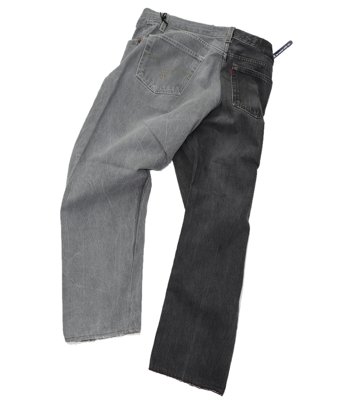 써니사이드업 REMAKE 2FOR1 BLACK DENIM (SIZE4 TYPE F)