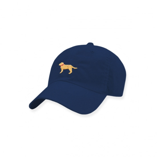 SMATHERS&BRANSON Yellow Lab Needlepoint Performance Hat (Navy)