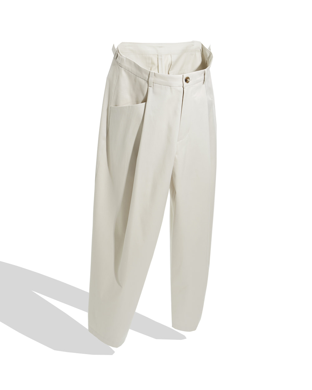 유스 Structured Wide Pants (Stone)