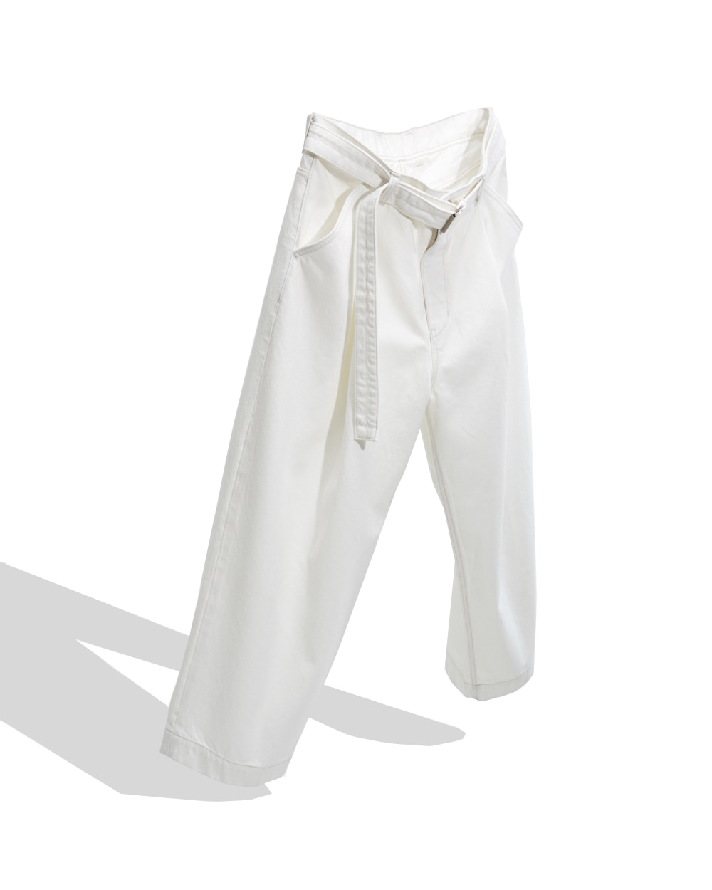 유스 Belted Denim Pants (White)